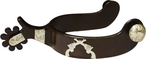Showman™ Antique Brown Spur with Engraved Silver Guns Overlay