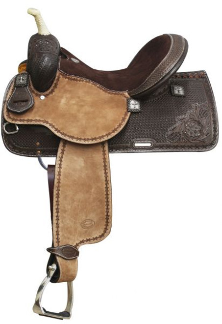 """15"""",16""""  Showman™ Argentina Cow Leather Barrel Style Saddle with Square Tooling"""