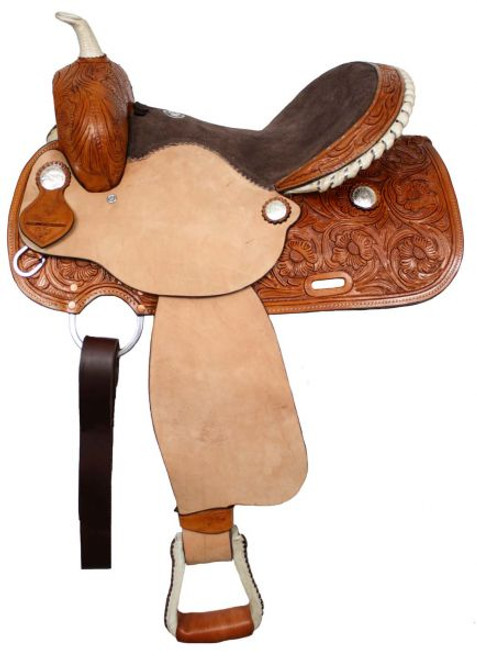 "15"", 16"" Fully Tooled Double T Barrel Saddle"