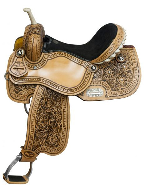 """14"""", 15"""", 16"""" Fully Tooled Double T Barrel Saddle with Black Inlay"""