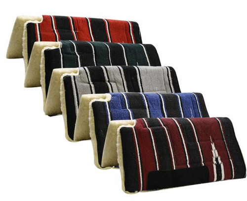 "30"" x 30"" Economy Style Navajo built up cutback saddle pad with fleece bottom and suede wear leatherS"