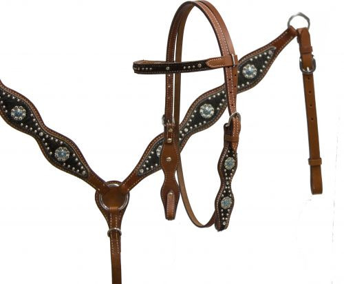 Showman™ Double Stitched Leather Headstall and Breast Collar Set featuring Silver Flower Conchos with Teal Rhinestones
