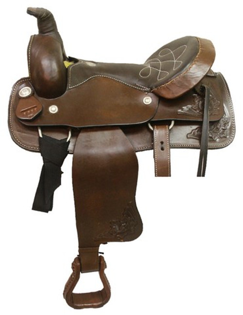 Circle 'S' Roping Saddle with Floral Corners