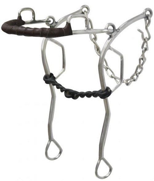 """Showman Leather Gag Hackamore With 10.5"""" Cheeks"""