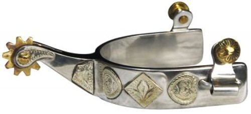 """Showman Stainless Show Spurs with Engraved Gold """"Poker Hand"""" Accents"""