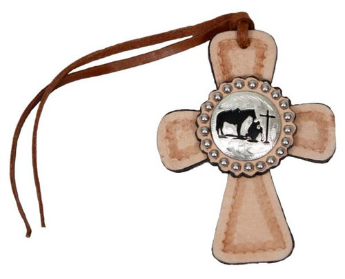 Tie on Leather Cross with Praying Cowboy Concho