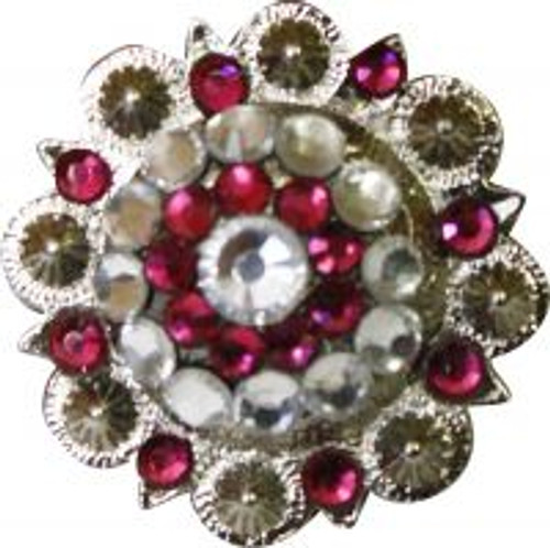 Showman™ Silver Concho with Pink and Clear Crystal Rhinestones