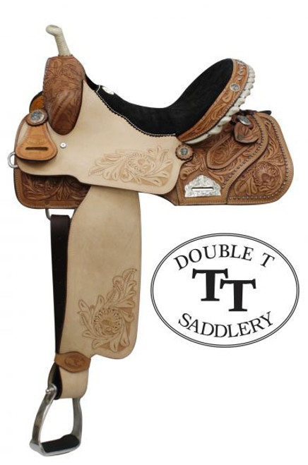 """14"""", 15"""", 16"""" Double T Barrel Style Saddle with Floral Embossed Suede Seat. Full QH Bars"""