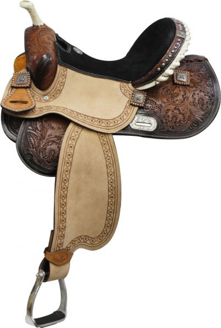 """14"""", 15"""",16"""" Double T Barrel Style Saddle with Barrel Racer Conchos.*Full QH Bars*"""