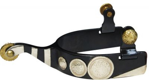 Showman Black Steel Spur with Engraved Conchos and Silver Bar Accents