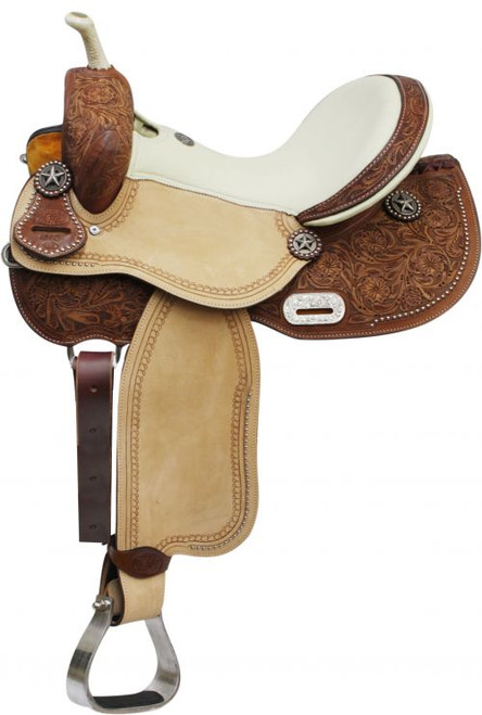 """14"""" 15"""" 16"""" Double T Barrel Style Saddle with Texas Star Conchos"""