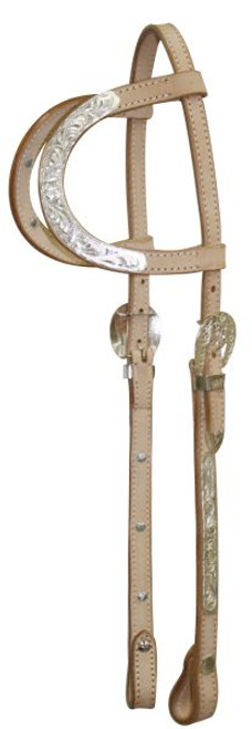 Showman ® Leather silver double ear headstall with 7' split reins. Features silver on cheeks.