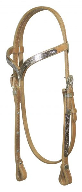Showman ® Leather silver v brow headstall with reins.
