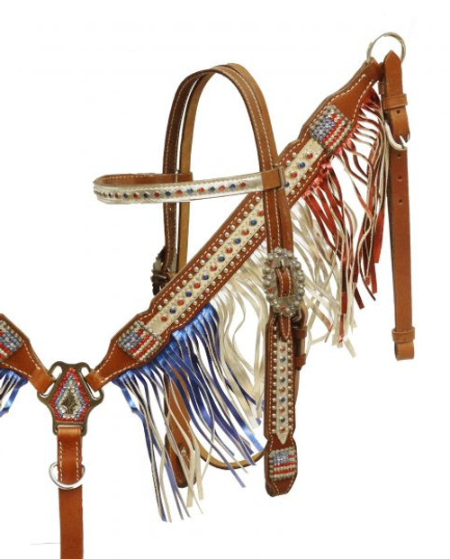 Showman®  Patriotic metallic fringe headstall and breast collar set.
