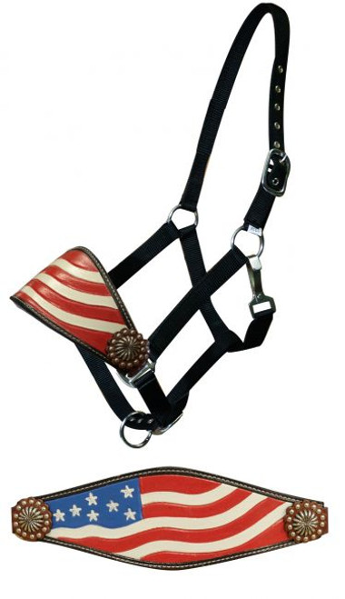 Showman ® Hand painted American flag bronc halter.