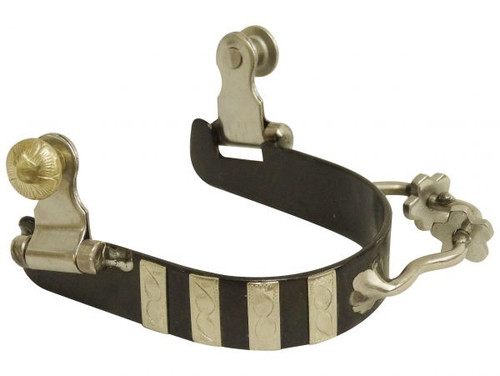Showman ® Ladies black steel bumper spurs with engraved silver bar overlays.