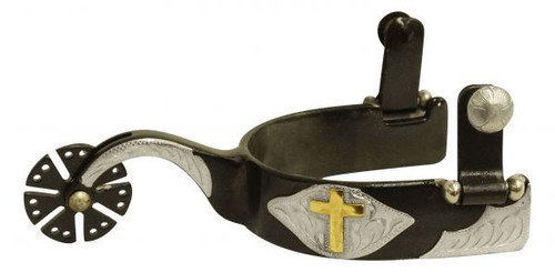 Showman ® Men's  Black steel spur with gold cross overlay.
