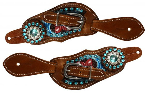 Showman ® Youth size floral tooled spur straps with metallic paint and aqua crystals.