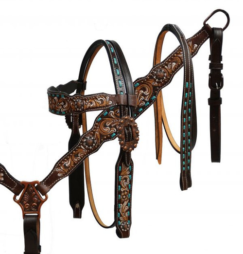 Showman ® Hand painted floral tooled headstall and breast collar with teal buck stitch.