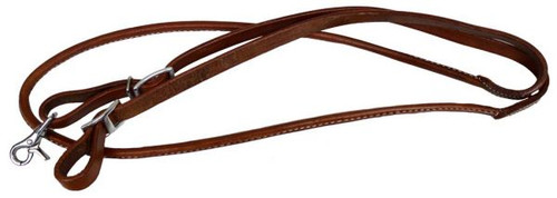 Showman™ one piece leather rolled middle roping rein with buckles.