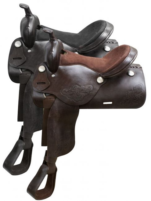 """16"""" Economy western saddle with floral tooling."""
