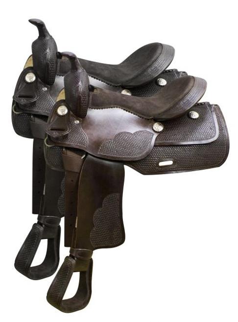 """16"""" Economy western saddle with basket weave tooling."""
