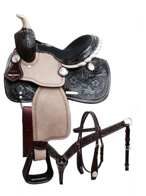 """10"""" Double T pony saddle set with engraved silver conchos. This"""