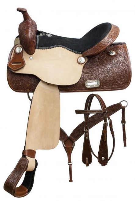 "15"", 16"", 17"" Double T pleasure style saddle set with floral tooling."