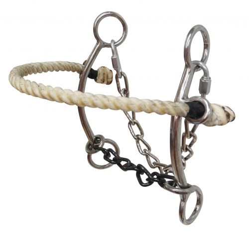 Showman ® Stainless steel combo hackamore with chain mouth.