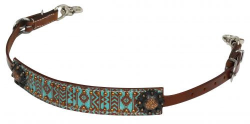 Showman ® Teal and brown Navajo print wither strap.