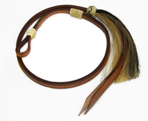 Showman ® 4 ft leather Over & Under whip with horse hair tassel.