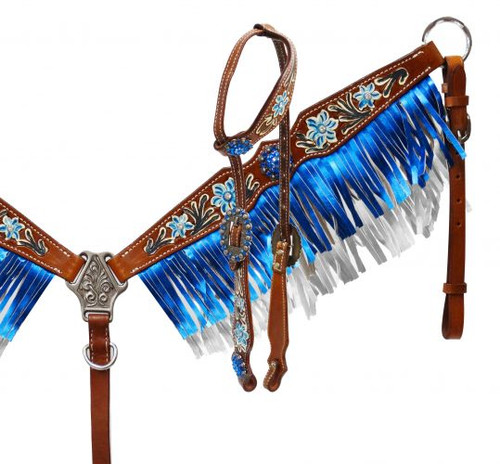Showman ® Metallic fringe headstall and breast collar set.