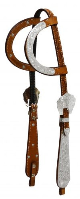 Showman ® Argentina cow leather headstall with engraved silver.