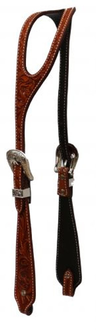 Showman ® Argentina cow leather headstall with ear silt.
