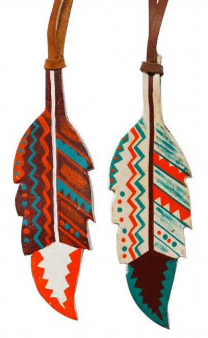 """5"""" painted leather tie on feather with Southwest design. 5"""" x 2"""