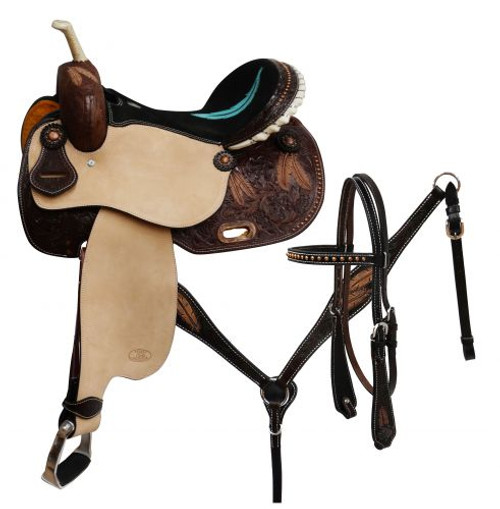 "14"",15"",16"" Circle S Barrel saddle set with feather tooling."