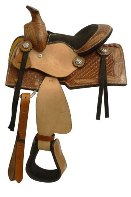 """8"""" pony saddle with a tooled feather design."""