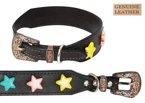 Showman Couture ™ Genuine leather dog collar with large star beads.