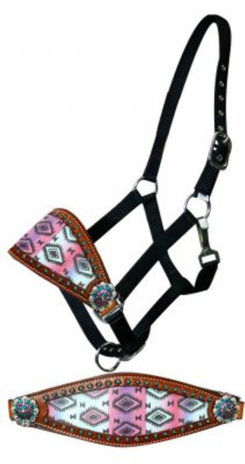 Showman ®  Adjustable nylon bronc halter with pastel Navajo diamond noseband.