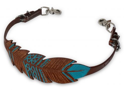 Showman ® Cut-out, hand painted feather wither strap.
