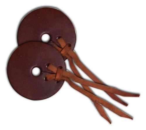 """Medium leather bit guards. 3"""" wide printed leather with leather strap closure."""