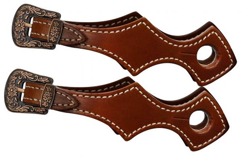 Showman ® scalloped slobber straps with antique buckles.