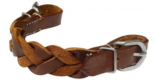 Showman ® braided leather curb strap with buckles.