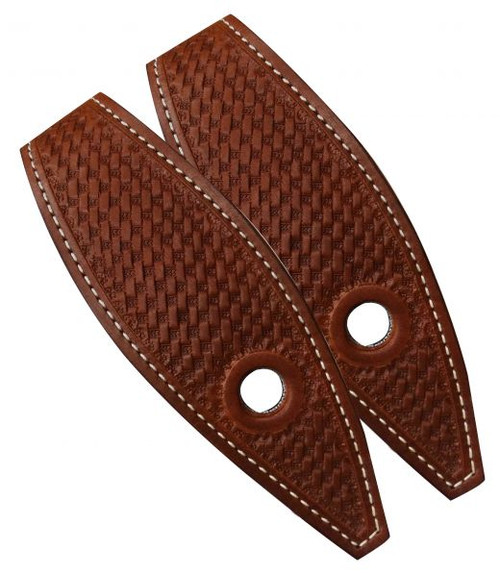 Showman ® Basket tooled leather slobber straps.