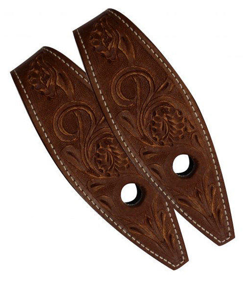 Showman ® floral tooled leather slobber straps.