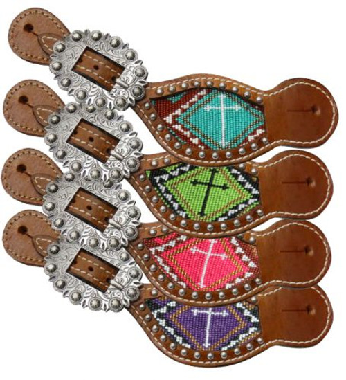 Showman ® Ladies Teal and brown beaded cross spur straps.