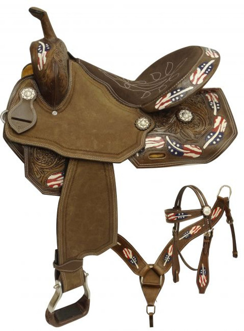 "15"", 16"" Double T style barrel saddle set with red, white and blue painted feathers."