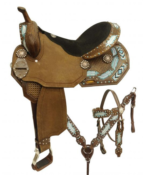 """14"""", 15"""", 16"""" Double T style barrel saddle set with metallic painted feathers and beaded inlay"""