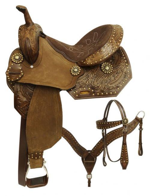 """14"""", 15"""",  Economy style barrel saddle set with feather tooled design."""