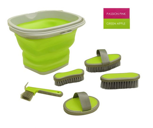 5 Piece grooming kit with collapsable bucket.